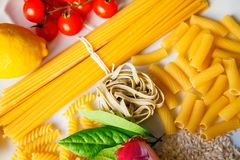 Close-up italian food ingredients royalty free stock images