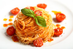 Italian pasta spaghetti with tomato sauce Royalty Free Stock Images