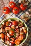 Close up italiano tradicional da salada do panzanella Vista superior vertical fotos de stock royalty free