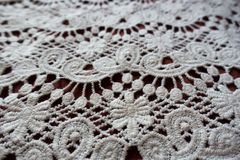Closeup of ivory old fashioned lacy fabric. Close up of ivory old fashioned lacy fabric Royalty Free Stock Images