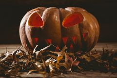 Close up of jack o lantern with autumn leaves Royalty Free Stock Photos
