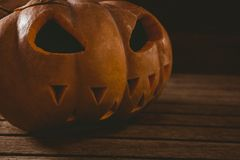 Close up of jack o lantern during Halloween. Close up of jack o lantern on table during Halloween Royalty Free Stock Images