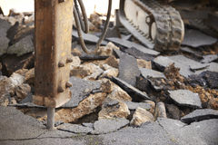 Close Up Of Jackhammer Breaking Up Road Surface Royalty Free Stock Photography