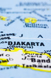 Close up of Jakarta on map, indonesia. A close up shot of Jakarta on map, capital of Indonesia stock photography