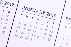 Close up of January 2018. We wish you a new year filled with wonder, peace, and meaning royalty free stock photos