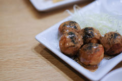 Close up japan food takoyaki on plate Royalty Free Stock Photo