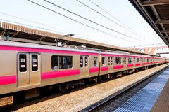 Closeup of A Japan Railway train arriving in Japan.JPG. Close up of A Japan Railway train arriving in Japan.JPG stock photo
