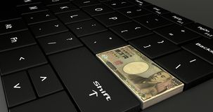 Close up of Japan ten thousand Yen keypad. 3D rendering, 3D illustration close up of Japan ten thousand Yen button on laptop keyboard Royalty Free Stock Images