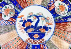 Close-up of Japanese Imari Plate will make for good background. Royalty Free Stock Image