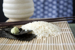 Close up japanese rice on mat Royalty Free Stock Photography