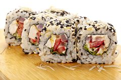 Seafood sushi roll. stock photography