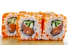 Close up of japanese seafood sushi roll. stock photos