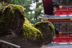 Close up Japanese stone lantern pillar Royalty Free Stock Photography