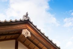 Close up of Japanese tradition roof and wood structure of ancient building in Kyoto, Japan. royalty free stock image