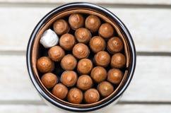 Close-up into a jar of cubans Stock Images