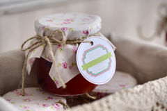 Close up of a jar jam with empty tag Royalty Free Stock Images