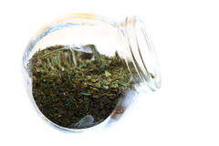 Close up jar with lovage spice isolated Stock Images