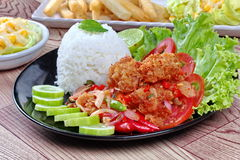 Close up of jasmine rice with spicy fried chicken salad (Khao Yum Kai Zap in Thai). Close up of jasmine rice with spicy fried chicken salad (Khao Yum Kai Zap in Royalty Free Stock Photography