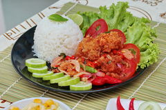 Close up of jasmine rice with spicy fried chicken salad (Khao Yum Kai Zap in Thai). Selective focus. Close up of jasmine rice with spicy fried chicken salad ( Royalty Free Stock Images