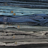 Close up of jeans pile Stock Photo