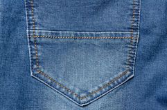Close up jeans pocket. Denim blue background color Royalty Free Stock Photos