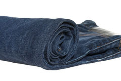 Close up of jeans roll isolated on white background Royalty Free Stock Photography
