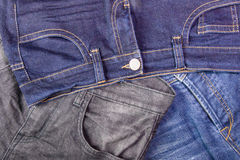 Close up of jeans's pile.Background with jeans material Stock Images