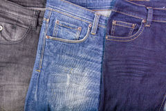 Close up of jeans's pile.Background with jeans material Stock Photography