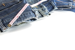 Close up jeans trousers with tape Royalty Free Stock Photo