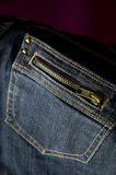 Close up jeans zip pocket. Close up dark blue jeans zip pocket Stock Photo