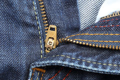 Close up of jeans zipper Royalty Free Stock Photos