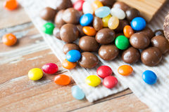 Close up of jelly beans and chocolate candies Royalty Free Stock Photos