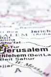 Close up of Jerusalem on map, Israel Stock Photos