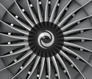 Close-up of jet fan engine turbo blades. Royalty Free Stock Images