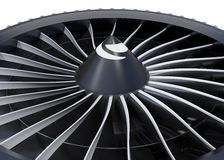 Close-up of jet fan engine turbo blades Stock Images