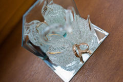 Close-up of a jewelry box with white gold rings Stock Image