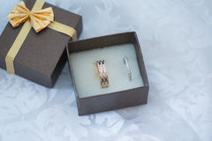 Close-up of a jewelry box with white gold rings Royalty Free Stock Photo