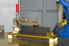 Close up jig fixture with manual quick clamp for welding work at factory.  royalty free stock photo
