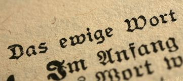 Bible in german. A close up of Jn 1:1 in german bible Royalty Free Stock Photography