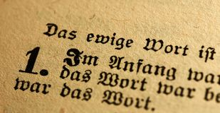 Bible in german. A close up of Jn 1:1 in german bible Royalty Free Stock Photos