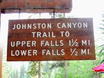 Johnston Canyon Trail Sign, Upper and Lower Falls, Banff National Park, Canadian Rockies, Alberta, Canada stock photos