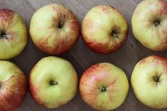 Yellow and red jonagold apples on wooden background. Close up of jonagold apples on kitchen wooden table Stock Image