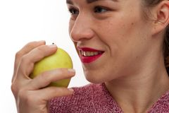 Close-up - jovem mulher com dentes perfeitos imagens de stock