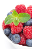 Close-up of juicy fresh berries and mint, isolated Stock Photography