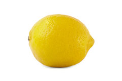 Close-up of juicy and ripe bright yellow lemon, isolated on a white background. Sour, raw and fresh lemon full of vitamins. Stock Image