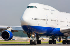 Close up of Jumbo Jet. Close up of a taxiing commercial Jumbo Jet royalty free stock images