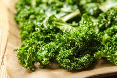 Close-up of kale mixed with oil and sesame royalty free stock images