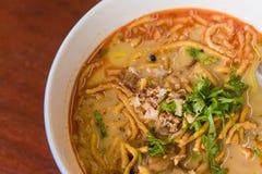 Close up Kaow Soi Kai Curry Noodles Stock Images