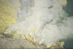 Close up Kawah Ijen Crater at sunrise panoramic view, Indonesia royalty free stock photos