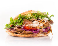 Close up of kebab sandwich. Close up of kebab sandwich on white background royalty free stock photography